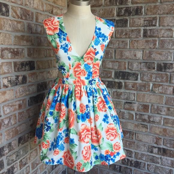 4c9b41cd51d A GACI White Floral Print Summer Tulle Dress M